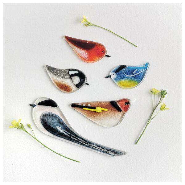 Gift set of five fused glass British Garden birds