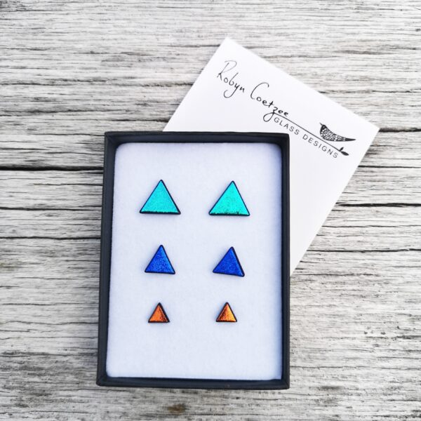 Gift set of triangle stud earrings in three sizes