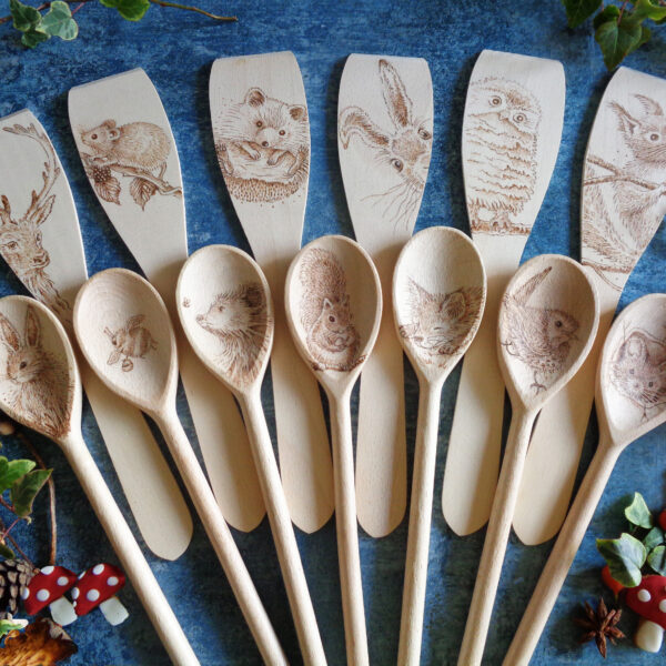West Country Designs, Woodland Beech Animal Design Spoons and Spatulas