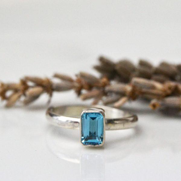 swiss blue topaz octagon ring