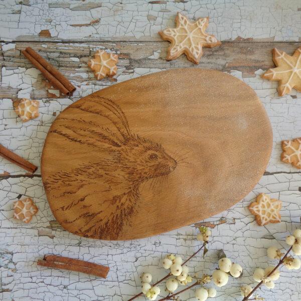West Country Designs, Winter Hare Design, Solid Oak Serving Board