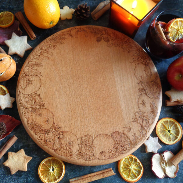 West Country Designs, Winter Spice Design Hand-Decorated and Handmade Beech Chopping / Cheese Board