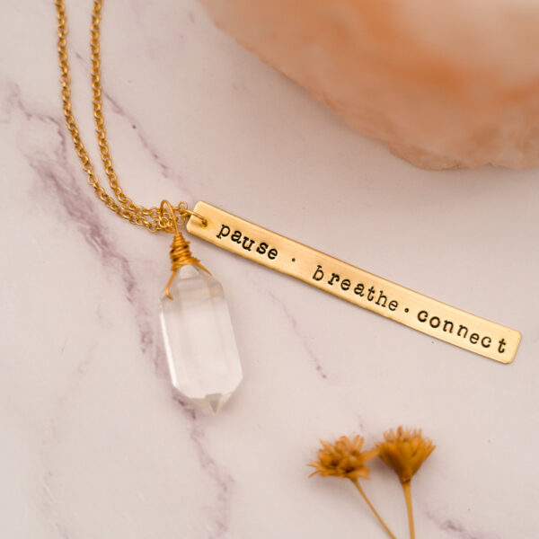 brass pendant and crystal necklace