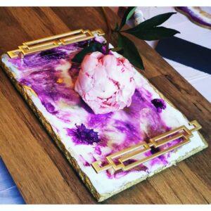 Purple resin platter with gold handles, Art by Lauren Ash