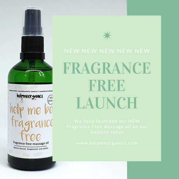 Helpmeorganics Fragrance Free organic Massage Oil in a green gkass bottle