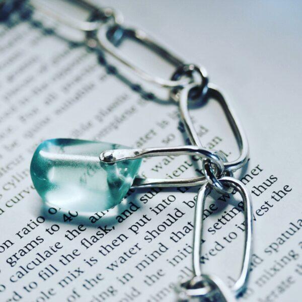 Platina jewellery, uncut aquamarine and sterling silver large link bracelet