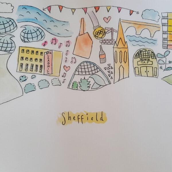 Sheffield Cityscape - A4 or Postcard Size