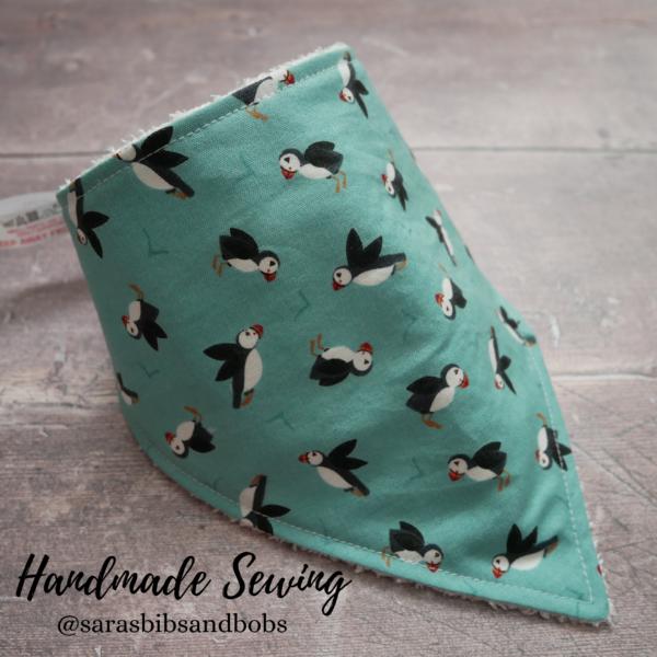 Handmade Sewing, beautiful puffins soft bamboo bandana dribble baby bib