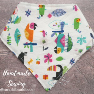 Handmade Sewing, toucans fun soft bamboo bandana dribble baby bib