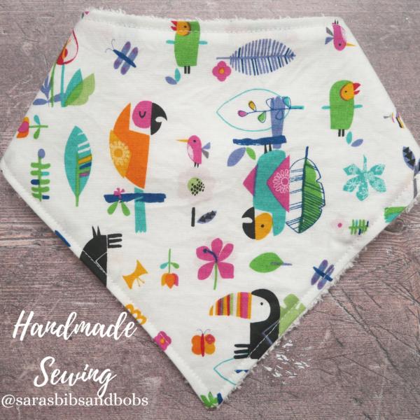 Handmade Sewing, toucans fun soft bamboo bandana dribble baby bib