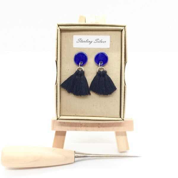 Precious Clay Studio, Tassel stud earrings black and blue