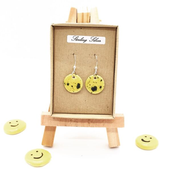 Precious Clay Studio, yellow navy circle drop earring