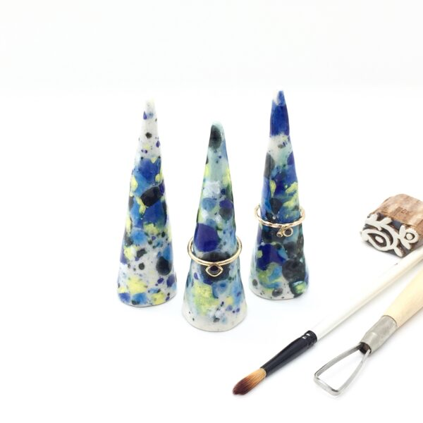 Precious Clay Studio, ring cones bursting blue and yellow glaze