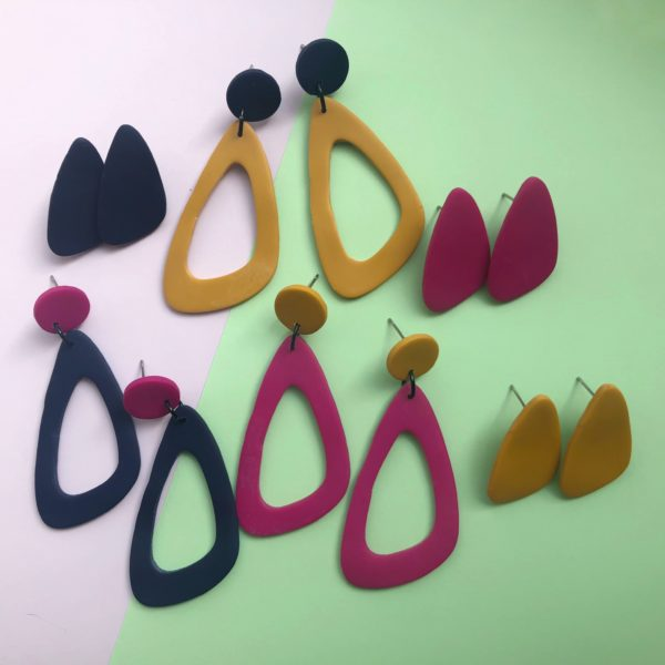 Nine Angels, Navy, mustard and hot pink earring collection with drops and giant studs