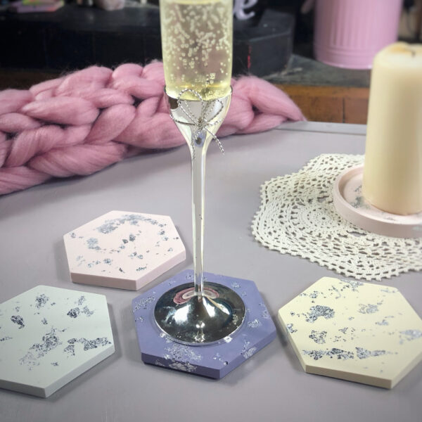 Pastel coaster set with silver leaf
