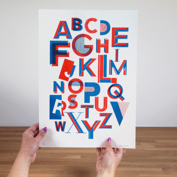 Abby Sumner Design, A3 Alphabet Risograph Print Blue and Red