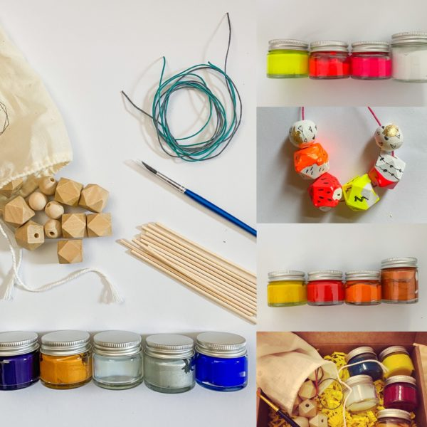 Make and Create, Geometric Wooden Bead Painting Necklace Kit, Customisable Colour Palette