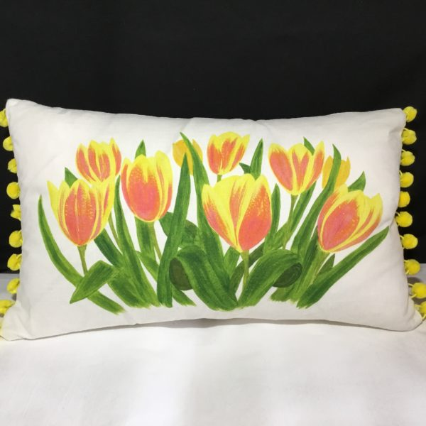 "Elliepearcecushiondesigns SpringTulips 18""x12"""