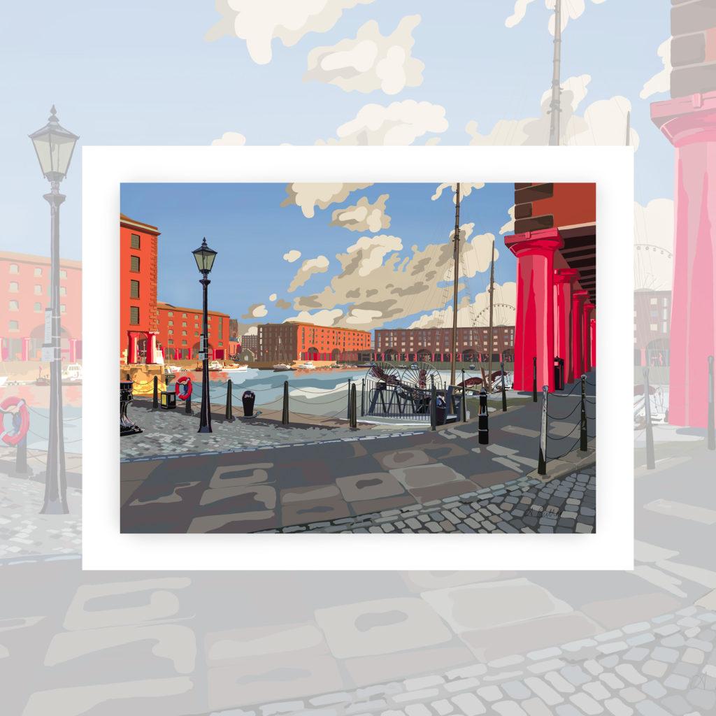 Alison Butler Art, The Royal Albert Dock Liverpool Art Print, Digital painting of Royal Albert Dock Liverpool