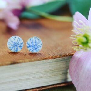 Platina jewellery, Blue and white enamel flower ear studs
