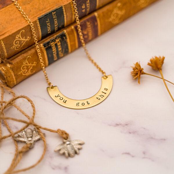 brass arch necklace lifestyle shot