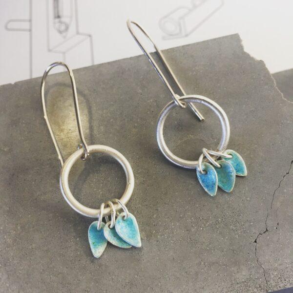 Platina jewellery, silver and turquoise enamel tassel drop earrings