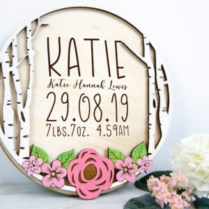 Flower wooden birth stat sign