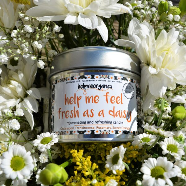 Helpmeorganics Uplifting Soy Wax candle blended with organic essential oils