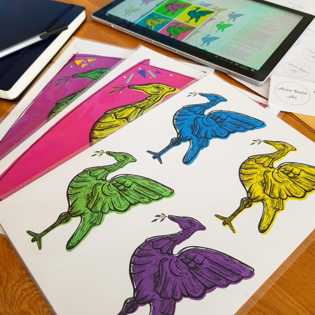 Alison Butler Art, Work Space, Digital Art Prints of Liverpool Liver Birds.
