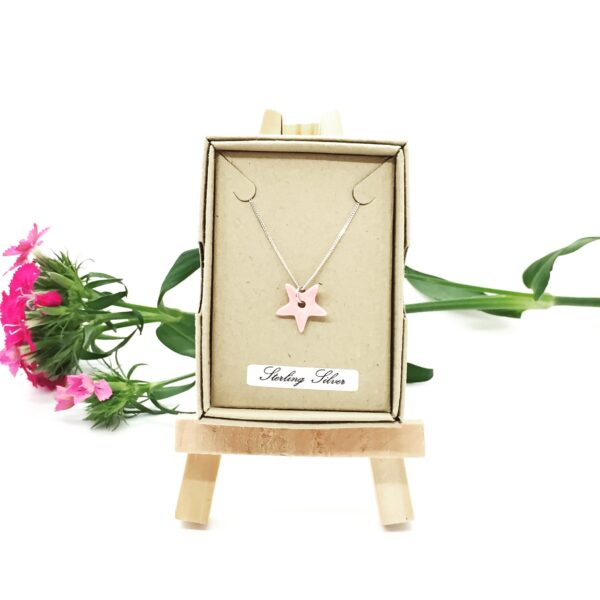 Precious Clay Studio, pink star pendant necklace