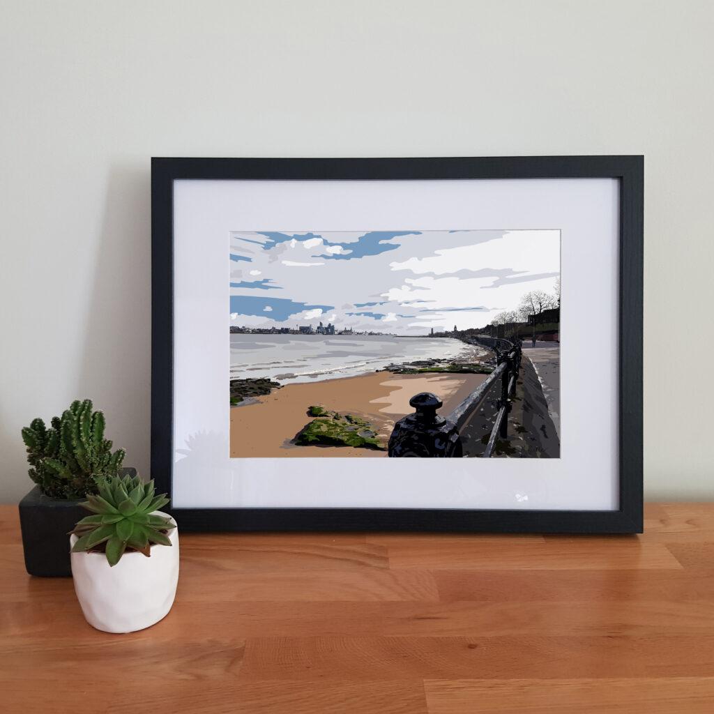 Alison Butler Art, Egremont Prom, New Brigton, Wirral, Digital Art Print. Liverpool Waterfront, Liverpool Skyline, Black Frame