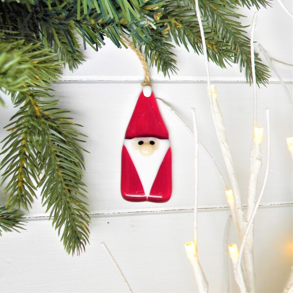 Glass at the Spinney, Father Christmas decoration with fir tree branch and fairy lights