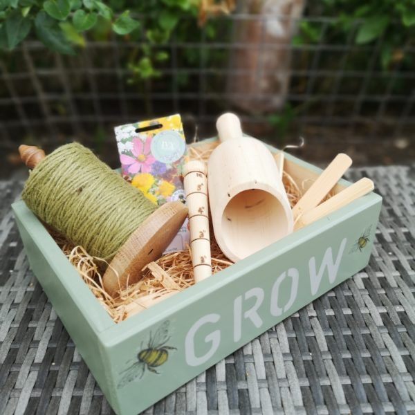 Ivy Upcycling, Handmade decorated sustainable garden gift crate, scoop, dibber,string holder, jute string