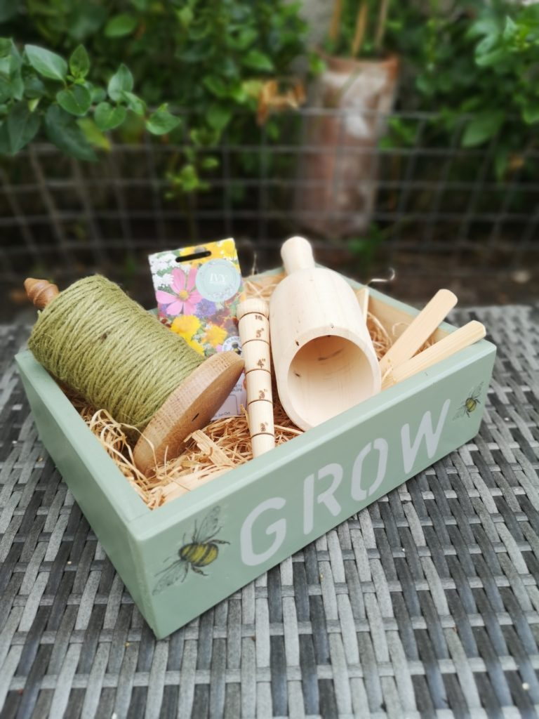 Ivy Upcycling, Handmade decorated sustainable garden gift crate, scoop, dibber,string holder, jute string and plant labels