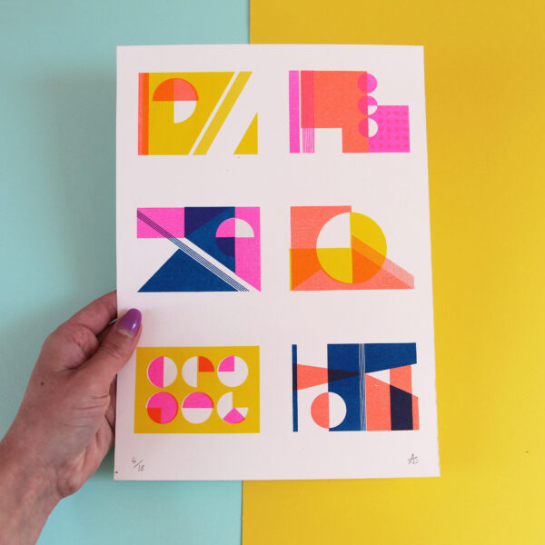 Abby Sumner Design, Geometric Forms Colourful Risograph Print