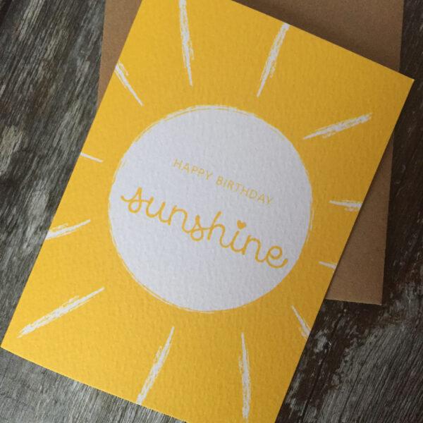 A6 Bight Yellow Happy Birthday Sunshine Greeting card