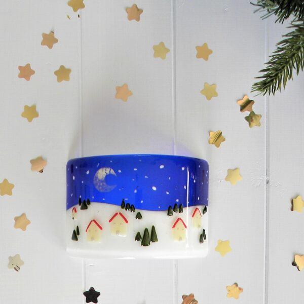 Glass at the Spinney, Christmas Houses Candle Screen surrounded by gold stars and fir tree