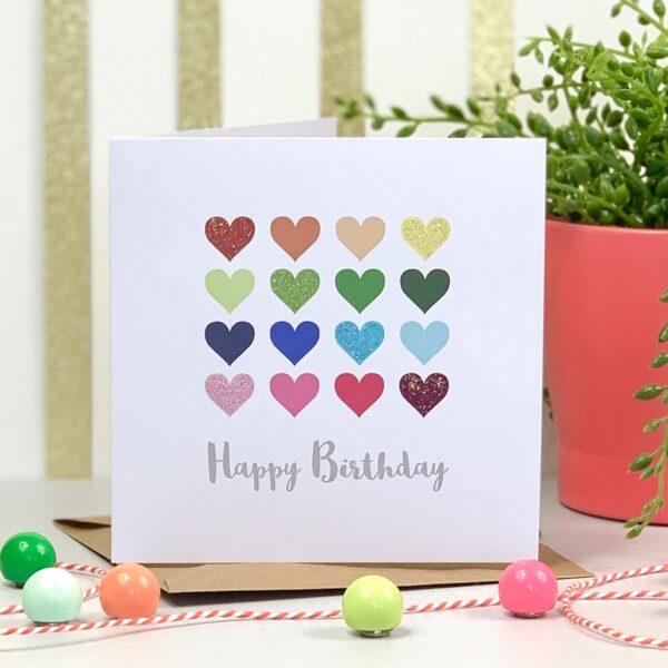 Clairabow, Multi coloured hearts Happy Birthday Card