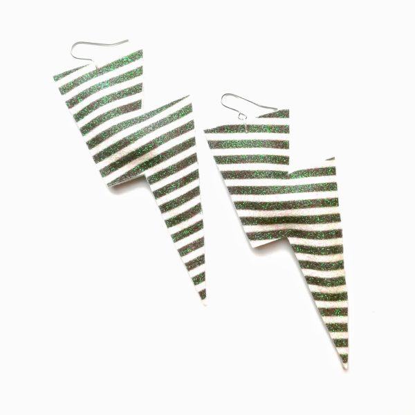 Super Disco Bolt Lightning Bolt Earrings in Monochrome stripe glitter