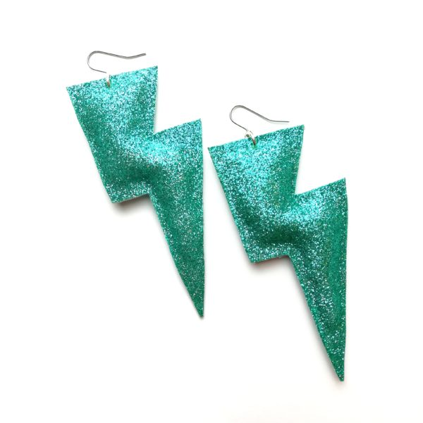 All The Discos, Super Disco Bolt Lightning Bolt earrings in aqua fine glitter