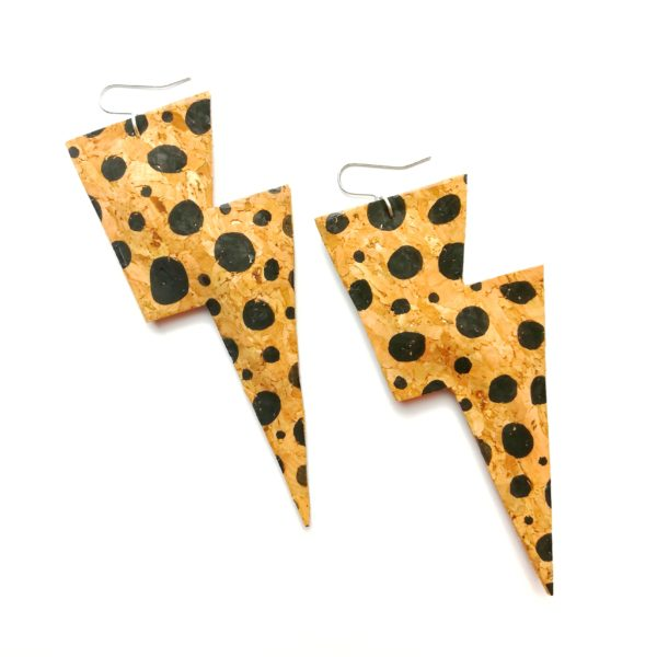All The Discos, Super Disco Bolt Lighning Bolt Earrings in hand painted spotty cork