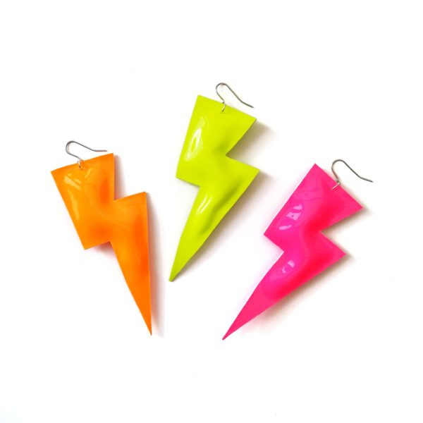 All The Discos, Super Disco Bolt Lightning Bolt Earrings in Patent Leatherette Collection, Neon Orange, Neon Yellow, Neon Pink