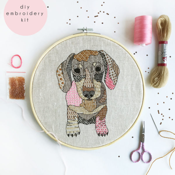 Dachshund Embroidery Kit, Kirsty Freeman