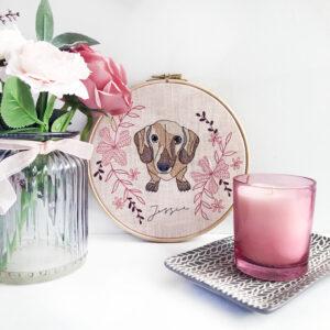 Kirsty Freeman Design - Embroidered Pet Portrait in pink