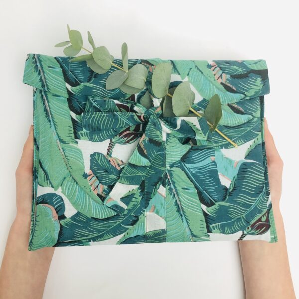 Forever Wraps fabric gift bag, banana leaf print design