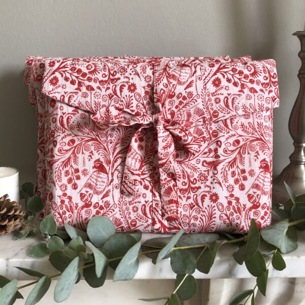 Christmas fabric gift wrap, Red Bird Design, Forever Wraps