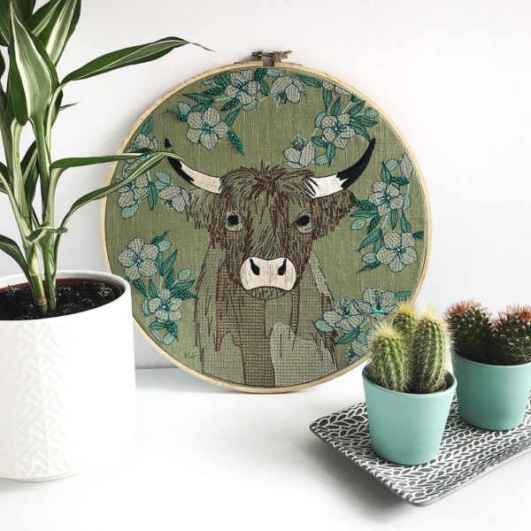 Highland Cow Embroidery Hoop