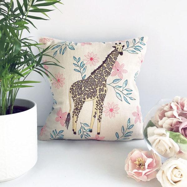 Giraffe Embroidered Cushion