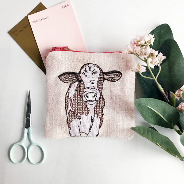 Embroidered Cow Coin Purse