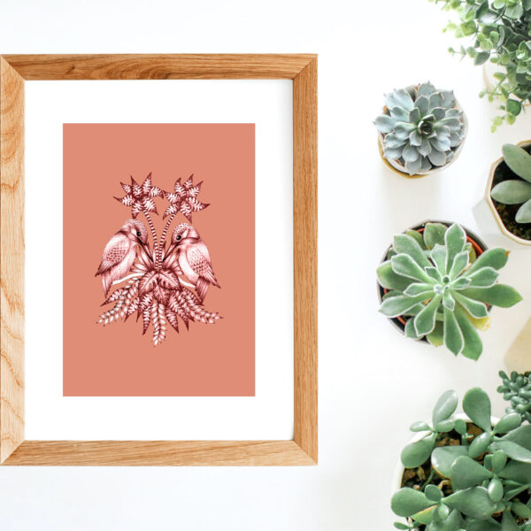 Megan Rose Designs, Pink Kingfisher print, hand drawn kingfisher illustration in wooden frame with succulents on white background